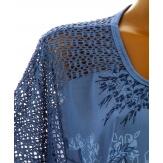 Tunique grande taille bohème dentelle bleu jean MARJOLAINE