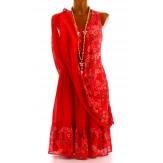 Robe grande taille été bohème rouge MIRABELLE