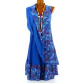 Robe grande taille été bohème bleu royal MIRABELLE