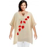 Tunique grande taille lin bohème beige FLOWER