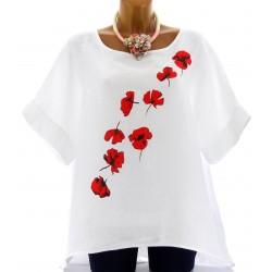 Tunique grande taille lin bohème blanc FLOWER