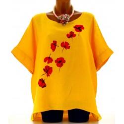 Tunique grande taille lin bohème jaune FLOWER