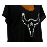 Tee shirt femme grande taille bohème strass noir BUFFLE