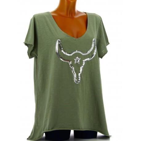 Tee shirt femme grande taille bohème strass kaki BUFFLE