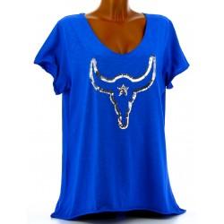 Tee shirt femme grande taille bohème strass bleu royal BUFFLE