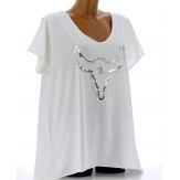 Tee shirt femme grande taille bohème strass blanc BUFFLE