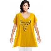 Tee shirt femme grande taille bohème strass safran BUFFLE