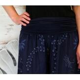Pantalon femme bouffant fluide bohème été marine FLORANE