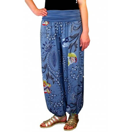 Pantalon femme bouffant fluide bohème été bleu jean FLORANE