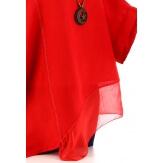 Tunique grande taille lin été bohème SOPHIA rouge