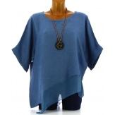 Tunique grande taille lin été bohème bleu jean SOPHIA