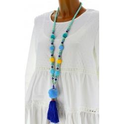 Collier long sautoir perles pompons bohème chic C20