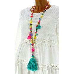 Collier long sautoir perles breloques pompons bohème chic C21
