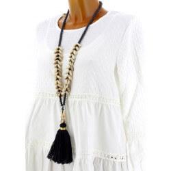 Collier long sautoir perles pompons breloques bohème chic C22