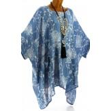 Tunique longue grande taille poncho été bleu jean PAPYRUS
