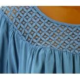 Tunique grande taille dentelle bohème été bleu jean PATOU