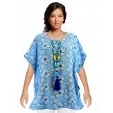 Tunique grande taille lin bohème été bleu PRISCA