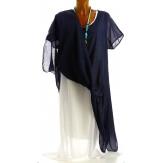 Robe longue bohème été asymétrique blanc marine JENA