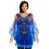 Tunique grande taille poncho été ethnique bleu LISBONNE