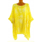 Tunique longue grande taille poncho été jaune PAPYRUS