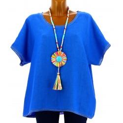 Tunique grande taille lin bohème chic bleu royal BRIGITTE