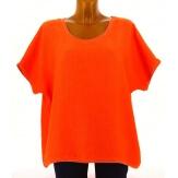Tunique grande taille lin bohème chic orange BRIGITTE