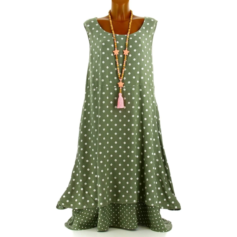 nouveau style 08a3e fbfb4 Robe longue grande taille lin été bohème chic kaki BONHEUR