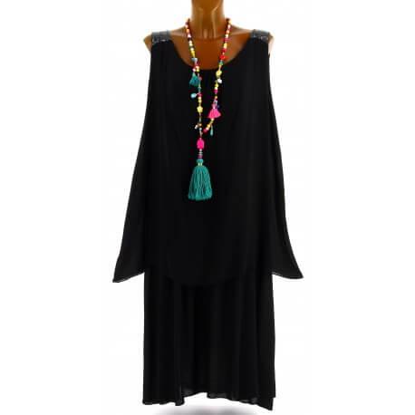 Robe longue grande taille été bohème chic noir ZITA