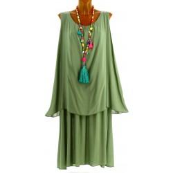 Robe longue grande taille été bohème chic kaki ZITA