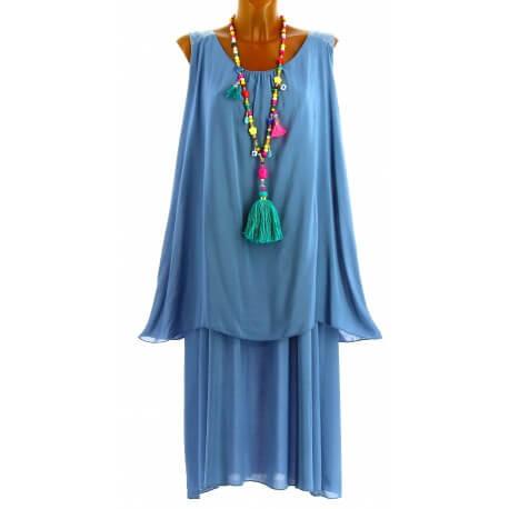 Robe longue grande taille été bohème chic bleu jean ZITA