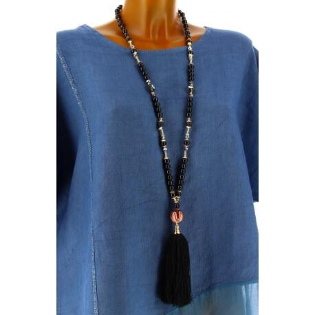 Collier long sautoir perles verre breloques pompons bohème chic C23