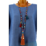 Collier long sautoir perles verre breloques pompons bohème chic C24