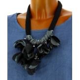 Gros collier fantaisie perles satin bohème chic C27