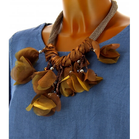 Gros collier fantaisie perles satin bohème chic C29