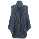 Poncho pull laine grande taille hiver bohème bleu jean ELODY