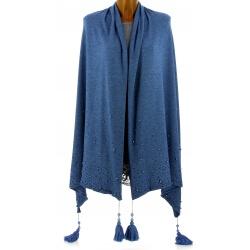 Châle étole hiver pompons perles bohème XXL bleu jean SOLENE