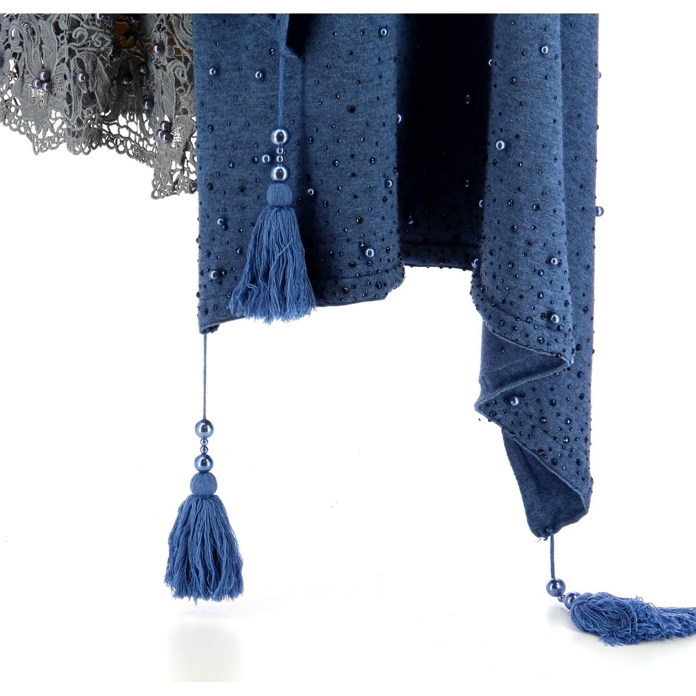 b6ab86ffbf75 Châle étole hiver pompons perles bohème XXL bleu jean SOLENE