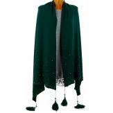 Châle étole hiver pompons perles bohème XXL vert SOLENE