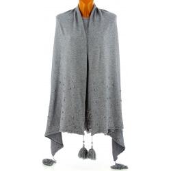 Châle étole hiver pompons perles bohème XXL gris SOLENE