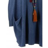 Pull grande taille femme long bohème bleu jean FABIENNE