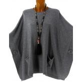 Poncho pull grande taille hiver bohème gris OSCAR