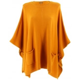 Poncho pull grande taille hiver bohème moutarde OSCAR