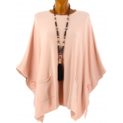 Poncho pull grande taille hiver bohème rose OSCAR