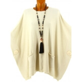 Poncho pull grande taille hiver bohème beige OSCAR