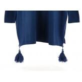 Pull long grande taille pompons bohème bleu jean LOUVRE