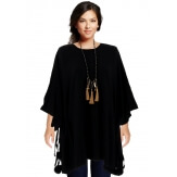 Poncho grande taille pull hiver noir CARLOS