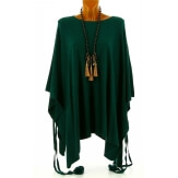 Poncho grande taille pull hiver vert sapin CARLOS