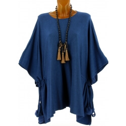 Poncho grande taille pull hiver bleu jean CARLOS