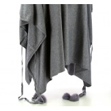Poncho grande taille pull hiver gris CARLOS