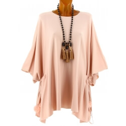 Poncho grande taille pull hiver rose CARLOS